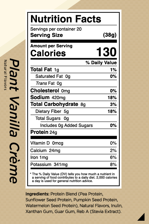 R1 Plant Protein Nutrition Facts