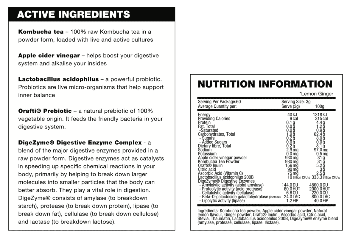 nutritional info about Body Science - Clean Tea TX100