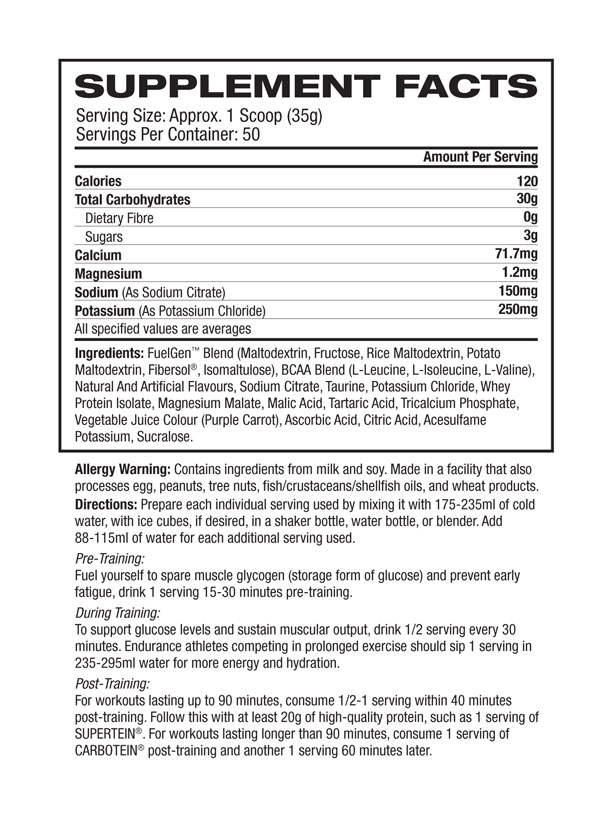 nutritional info about GAT - CARBOTEIN