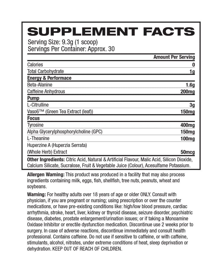 Muscle Pharm - COMBAT PRE-WORKOUT Supplement facts