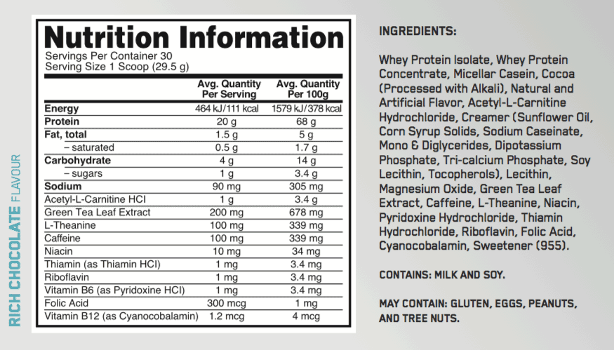 nutritional info about Optimum Nutrition - Burn Complex Protein