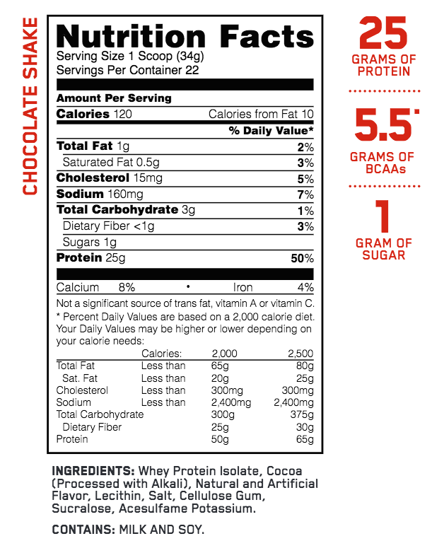 nutritional info about Optimum Nutrition - ISOLATE