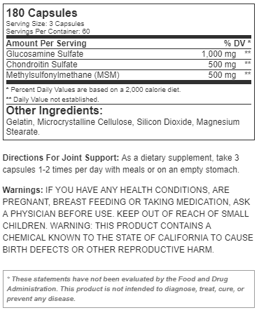 nutritional info about RSP - Joint Support