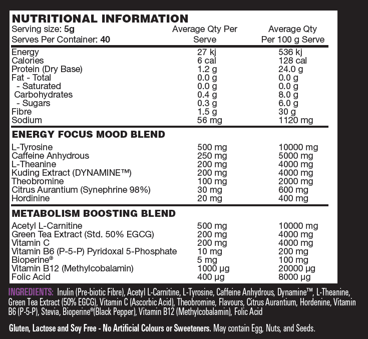 Nutritional info about Switch Nutrition - THERMAL SWITCH